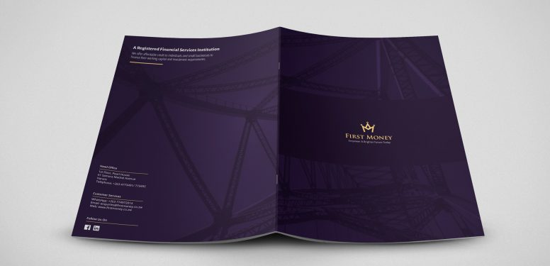 The front and back cover of a stylish, corporate brochure design by Square One Digital