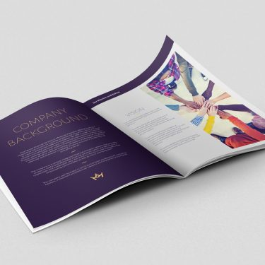 Corporate branded brochure inside pages by Square One Digital