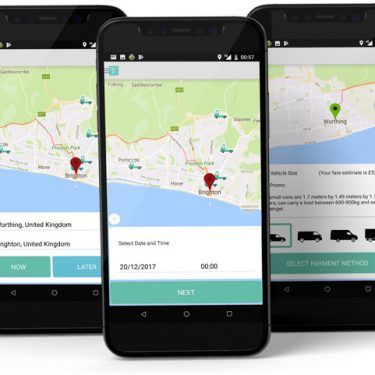 Three mobile app screens from the Vanuse project by Square One Digital