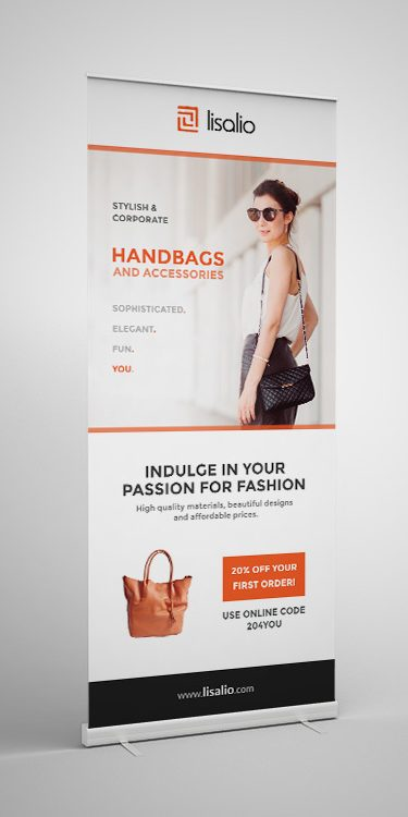 Stylish and contemporary roller banner design by Square One Digital