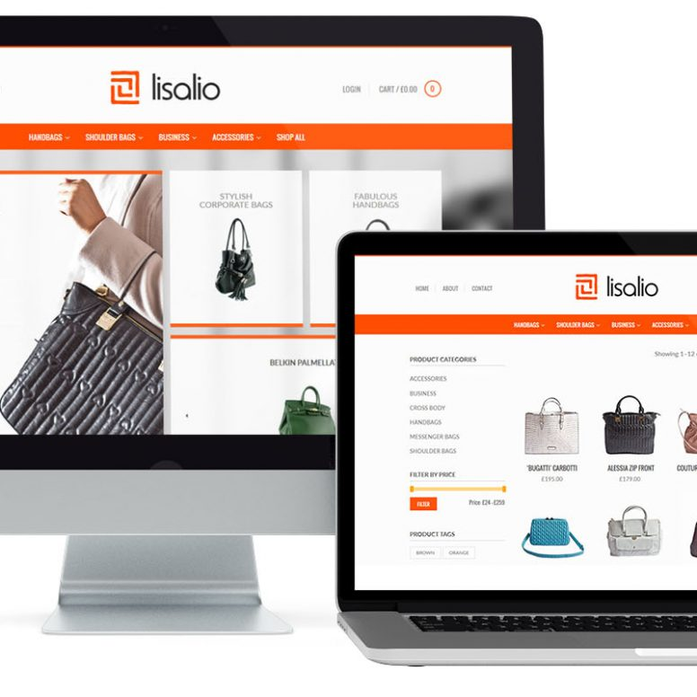 Mockup of the Lisalio e-commerce home page design by Square One Digital
